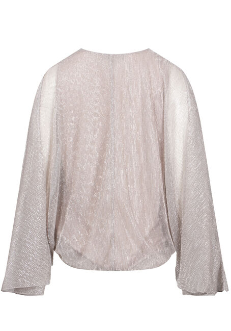 Women's Angel Sleeve Shimmer Wrap Top, GOLD, hi-res