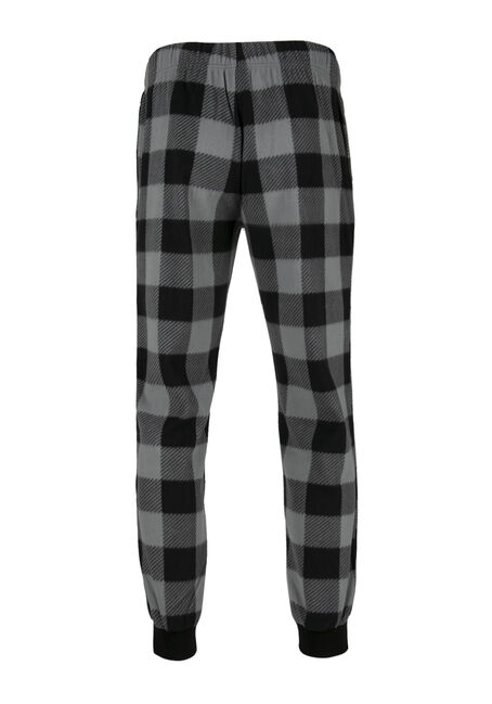 Men's Buffalo Plaid Fleece Jogger, BLACK, hi-res
