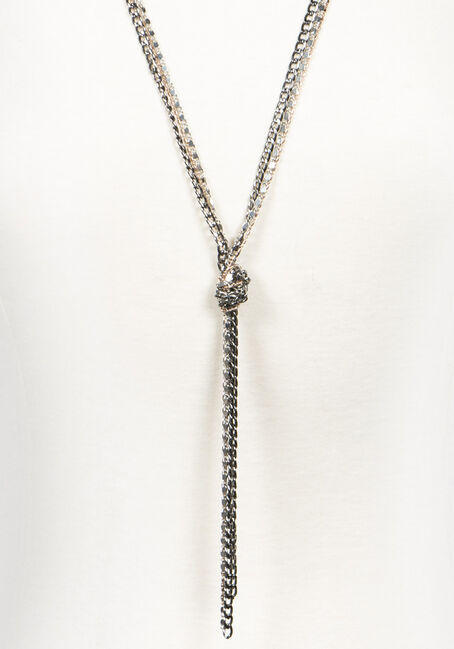 Women's Knotted Chain Necklace, MIXED METALS, hi-res