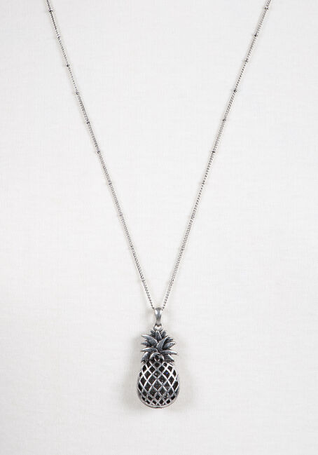 Ladies' Pineapple Necklace, SILVER, hi-res