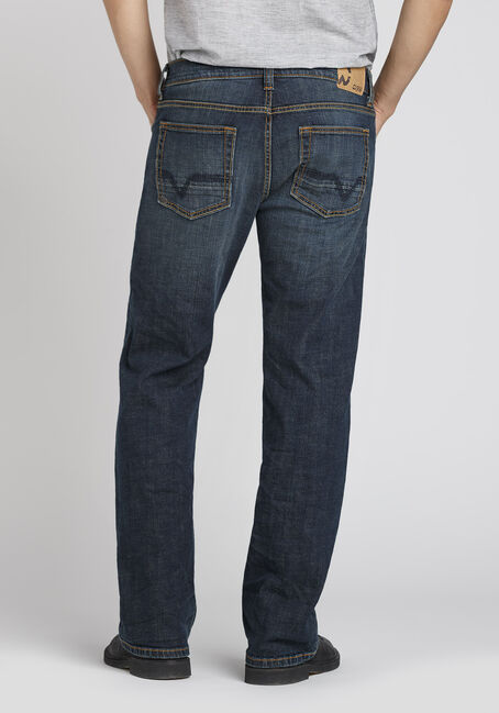 Men's Dark Indigo Wash Classic Straight Jeans, DARK WASH, hi-res