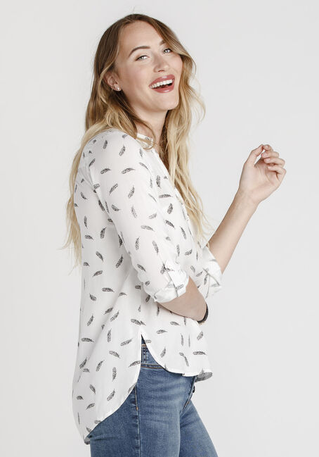 Women's Leaf Print Roll Sleeve Shirt, WHITE, hi-res