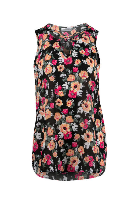 Ladies' Floral Cross Neck Tank