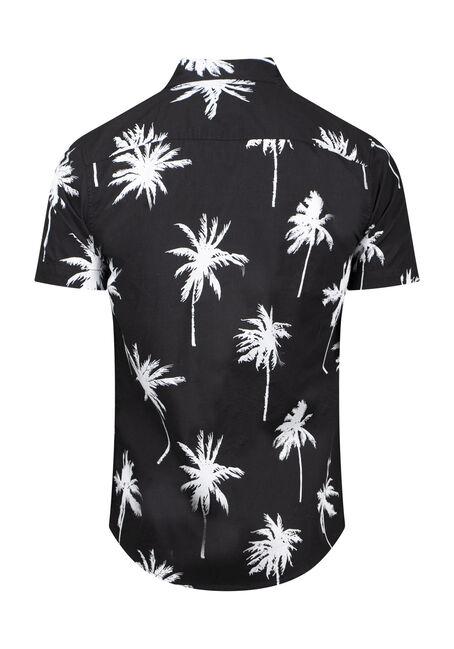Men's Palm Tree Resort Shirt, BLACK, hi-res