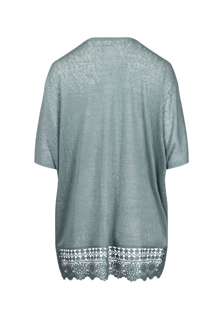 Women's Lace Hem Cardigan, SAGE, hi-res