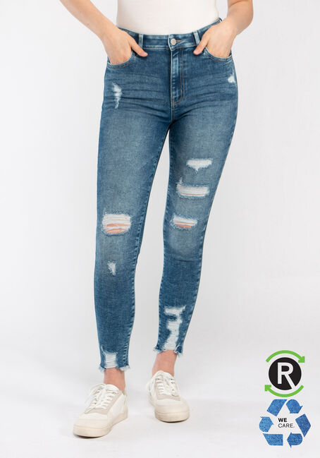 Women's High Rise Destroyed Ankle Skinny Jeans