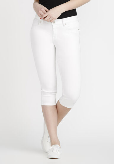 Women's White Skinny Capri, WHITE, hi-res