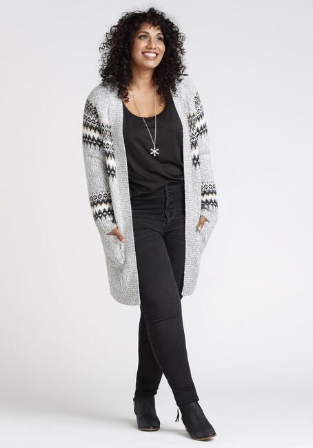 Womens' Fairisle Cardigan, GREY, hi-res
