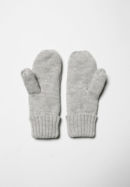 Women's Knit Mittens, GREY, hi-res