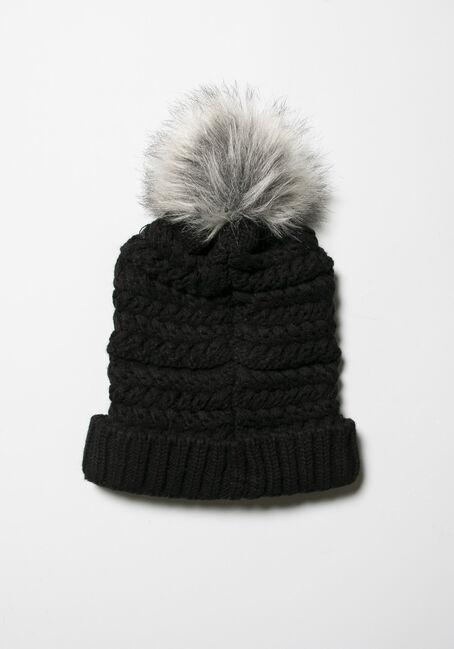 Women's Knit Hat, BLACK, hi-res