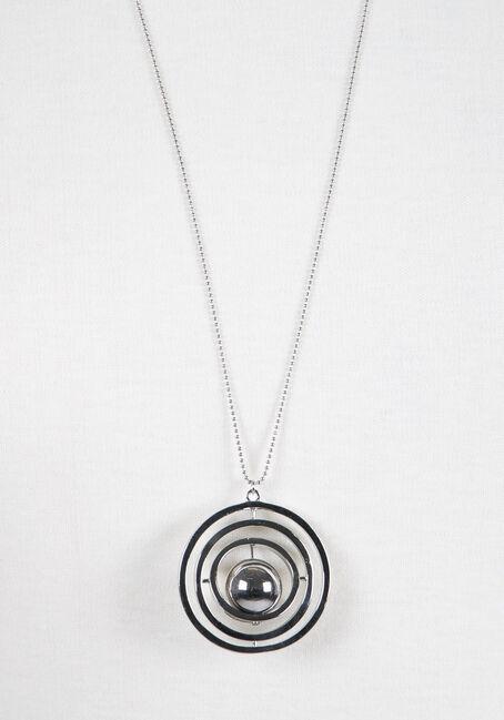Ladies' Orbital Necklace, RHODIUM, hi-res