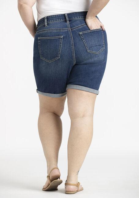 Women's Plus Slim Bermuda Cuffed Jean Short, DARK WASH, hi-res