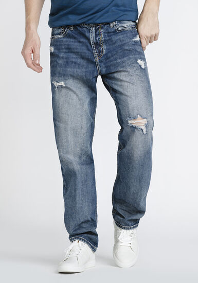 Men's Destroyed Relaxed Straight Jeans, MEDIUM WASH, hi-res
