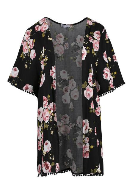 Women's Floral Crochet Trim Kimono
