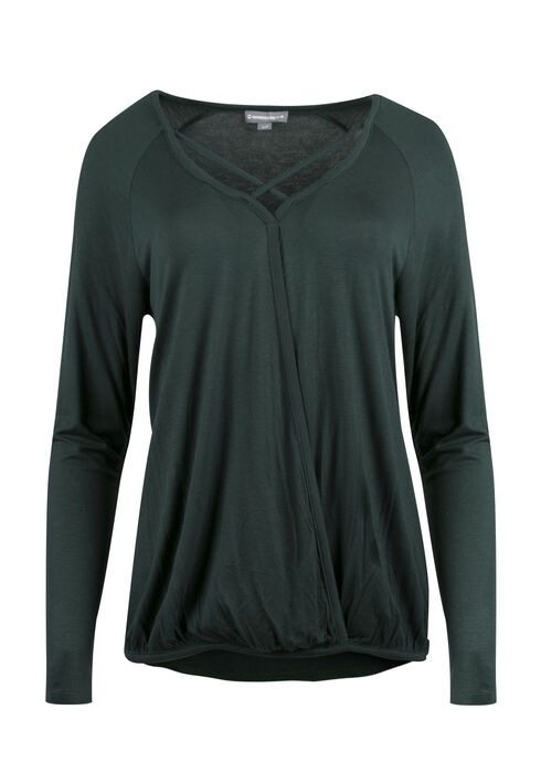 Ladies' Wrap Front Bubble Top, JASPER, hi-res