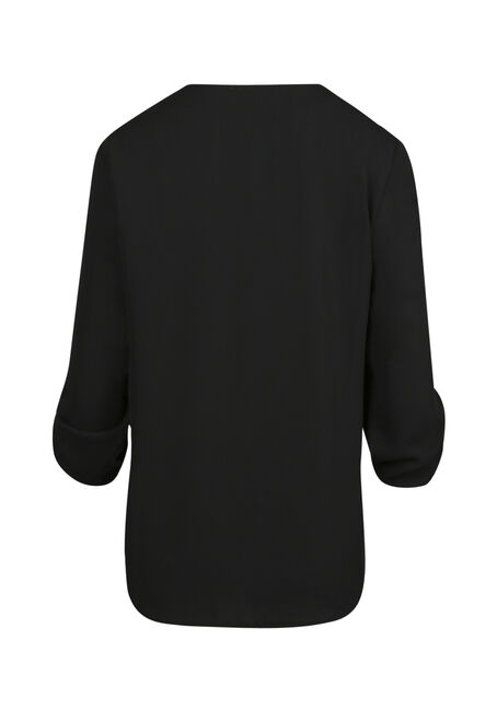 Women's Lace Up Top, BLACK, hi-res