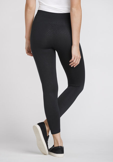 Women's Tonal Snake Print Fleece Legging, BLACK, hi-res