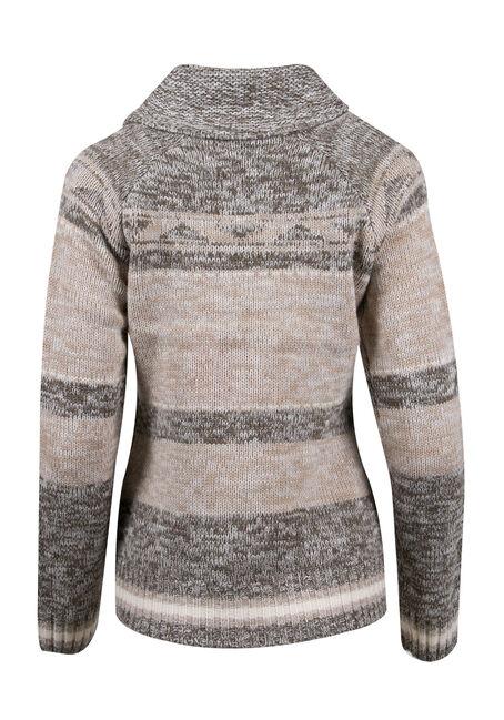 Ladies' Diamond Stripe Nordic Cardigan, OLIVE/GREY, hi-res