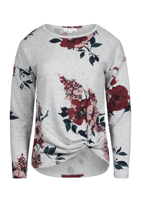 Women's Super Soft Floral Knot Front Top