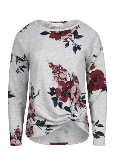 Women's Super Soft Floral Knot Front Top, HEATHER GREY, hi-res