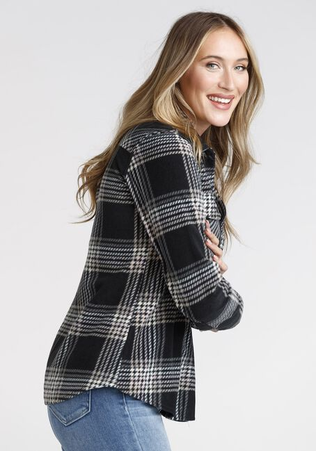 Women's Plaid Shacket, BLACK, hi-res