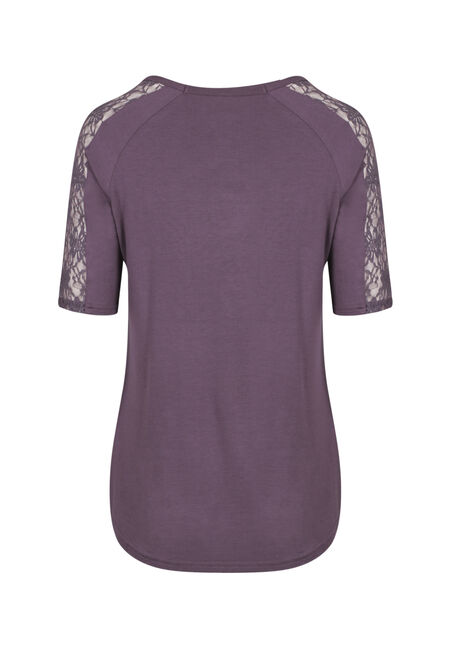 Ladies' Lace Insert Tee, PASS. PURPLE, hi-res