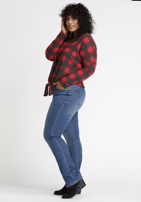 Women's Buffalo Plaid Tie Front Top, RED/BLACK, hi-res