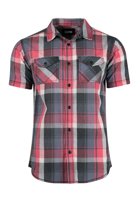 Men's Washed Plaid Shirt, MELON, hi-res