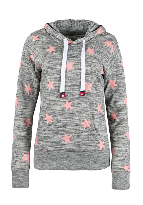 Ladies' Star Popover Hoodie, CHARCOAL/MAUVE, hi-res
