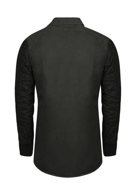 Men's Quilted Sleeve Shirt Jacket, DARK OLIVE, hi-res