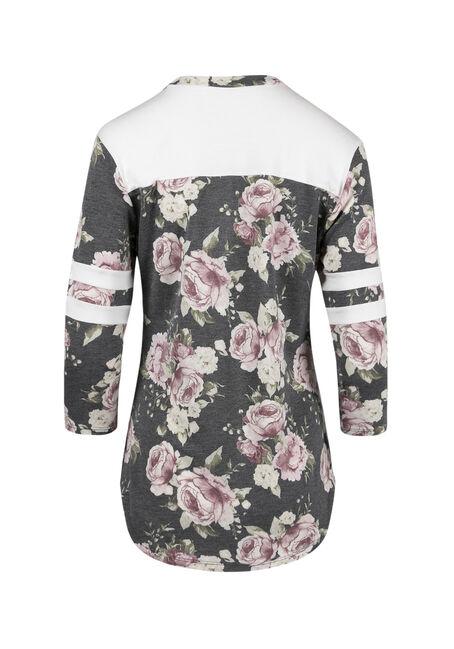 Ladies' Floral Colour Block Tee, CHARCOAL/MAUVE, hi-res