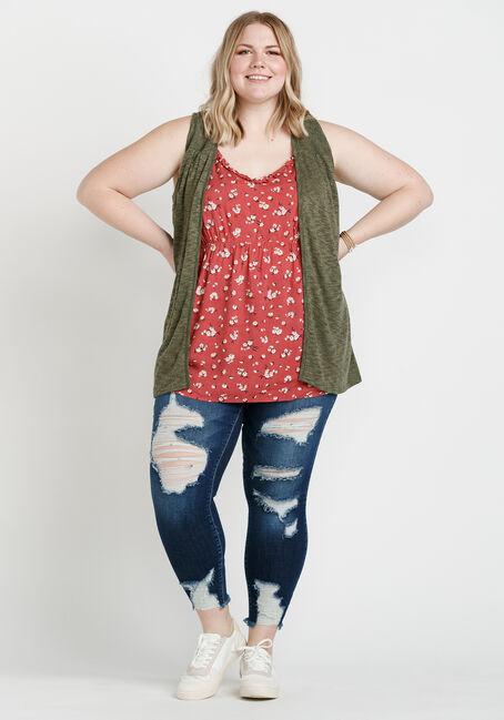 Women's Slub Knit Vest with Lace Back, MOSS, hi-res