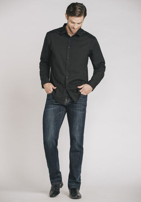 Men's Shadow Stripe Shirt, BLACK, hi-res