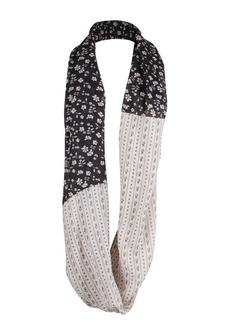 Ladies' Border Print Infinity Scarf, BLACK, hi-res