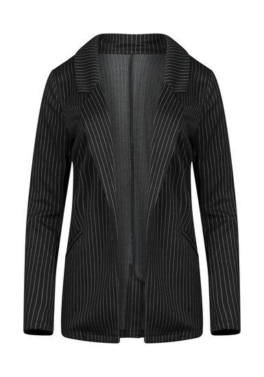 Women's Pinstripe Blazer, BLACK, hi-res