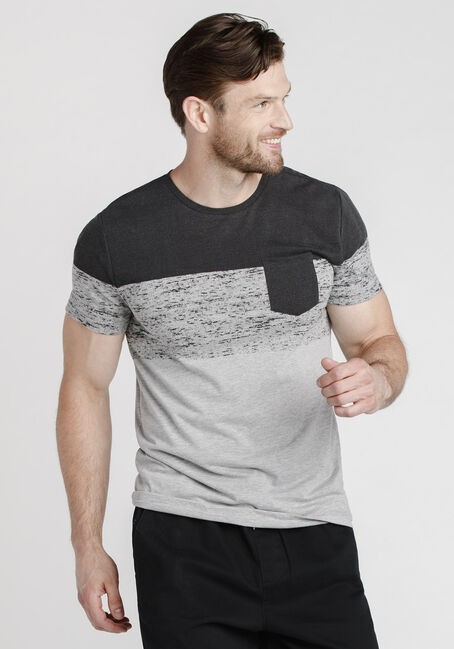 Men's Colour Block Pocket Tee, BLACK, hi-res