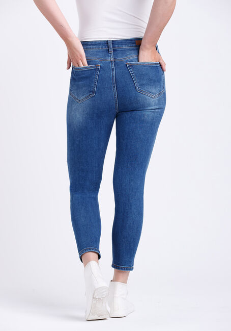 Women's High Rise Destroyed Mom Crop Skinny Jeans, MEDIUM WASH, hi-res