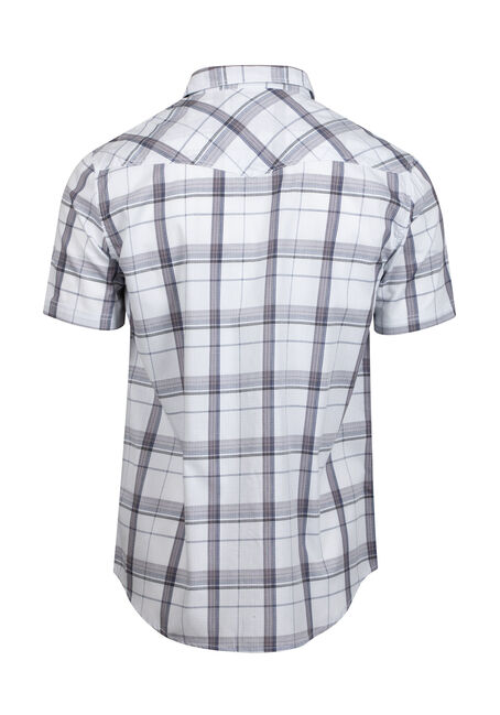 Men's Tonal Plaid Relaxed Fit Shirt, WHITE, hi-res