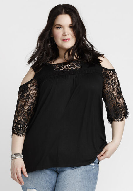 Women's Bell Sleeve Cold Shoulder Top, BLACK, hi-res
