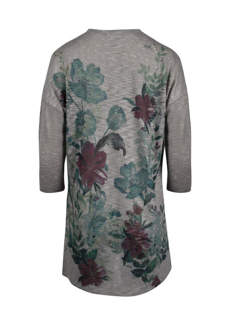 Women's Floral Cardigan, GREY, hi-res