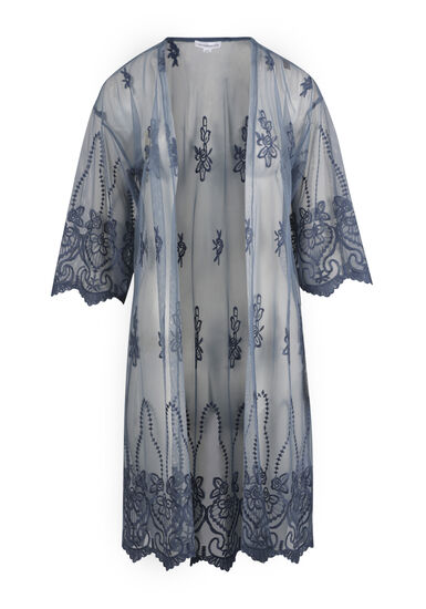 Women's Embroidered Kimono Duster, BLUE, hi-res