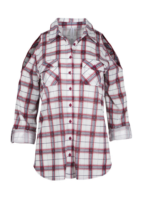 Ladies' Cold Shoulder Knit Plaid Shirt