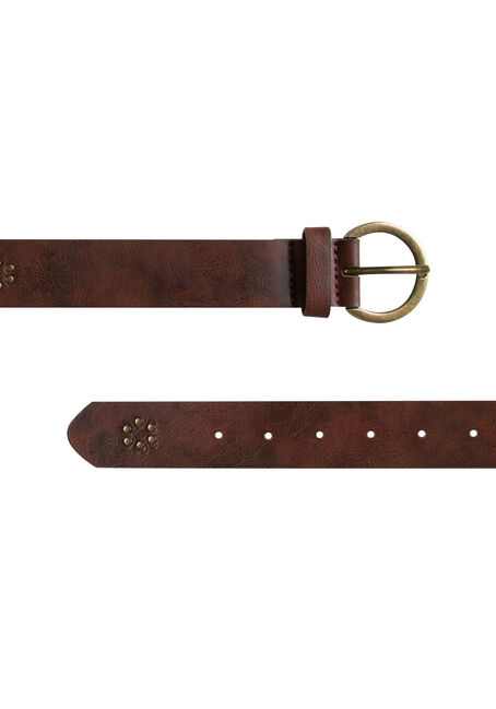 Ladies' Embossed & Studded Belt, MEDIUM BROWN, hi-res