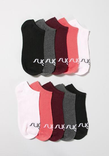 Women's 10 Pair Sugar Ankle Socks, MULTI, hi-res