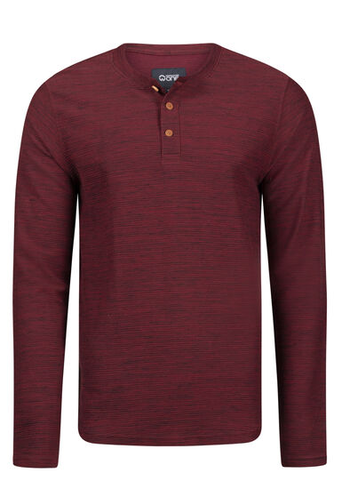 Men's Henley Rib Knit Sweater, PLUM WINE, hi-res