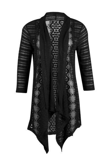 Ladies' Drape Front Lace Open Cardigan, BLACK, hi-res