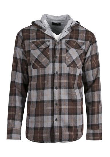 Men's Lined Flannel Hoodie, BROWN, hi-res
