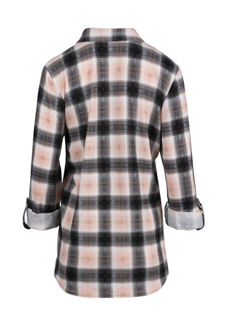 Ladies' Relaxed Fit Knit Plaid Shirt, TICKLED PINK, hi-res