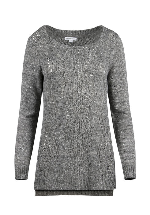 Ladies' Pointelle Tunic Sweater, CHARCOAL, hi-res