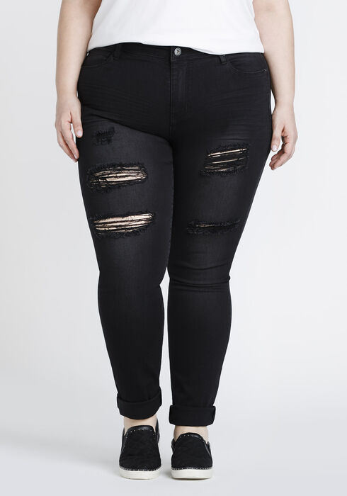 Women's Plus Black Destroyed Skinny, BLACK, hi-res
